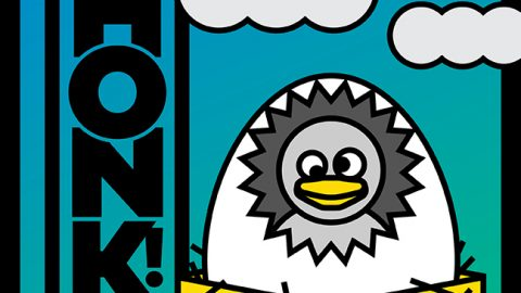 Honk! Artwork with a duckling peeking through an egg