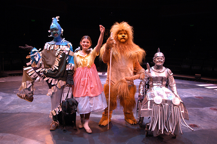 Scare Crow, Dorothy, Lion with a cane, Tin Man in a Wheelchair