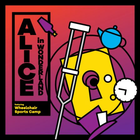 Alice in Wonderland image with a teapot, clock, crutch, and mad hatter hat