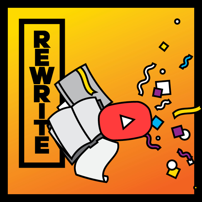 Rewrite graphic showing old texts hitting a youtube play button and exploding with color