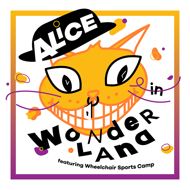 """An abstract image of a orange cat and a black rimmed hat. Text reads """"Alice in wonderland. Music by Wheelchair sports Camp."""""""