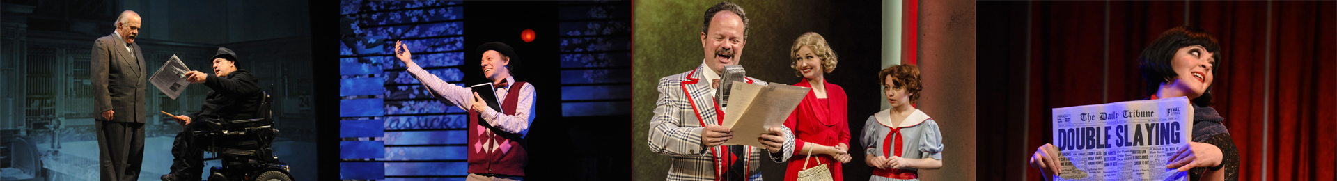 photo collage from Annie, Fantastics, and Chicago of characters reading news
